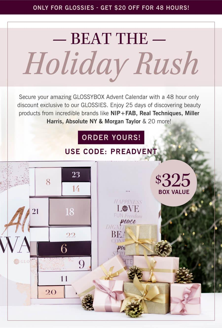 LAST CALL: GLOSSYBOX Limited Edition Advent Calendar – Now Available for Pre-Order + $20 Coupon Code