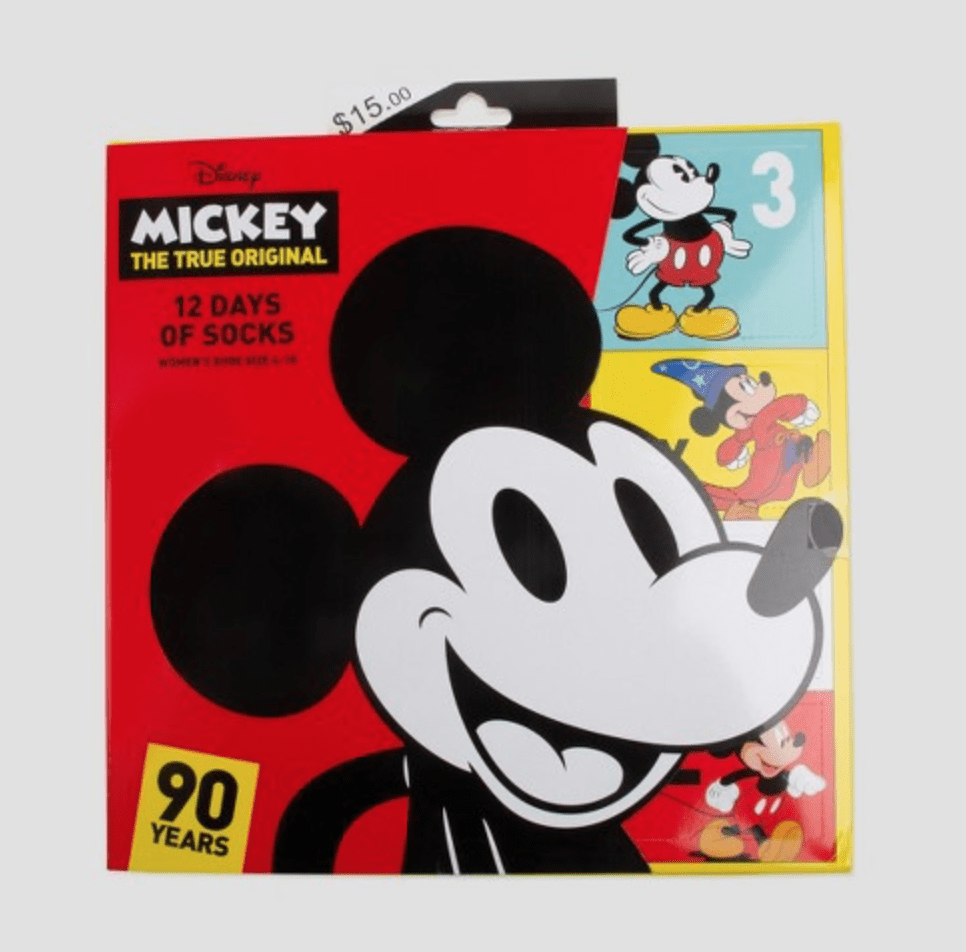 Women's Disney Mickey Mouse 12pk Casual Socks Advent Calendar – On Sale Now