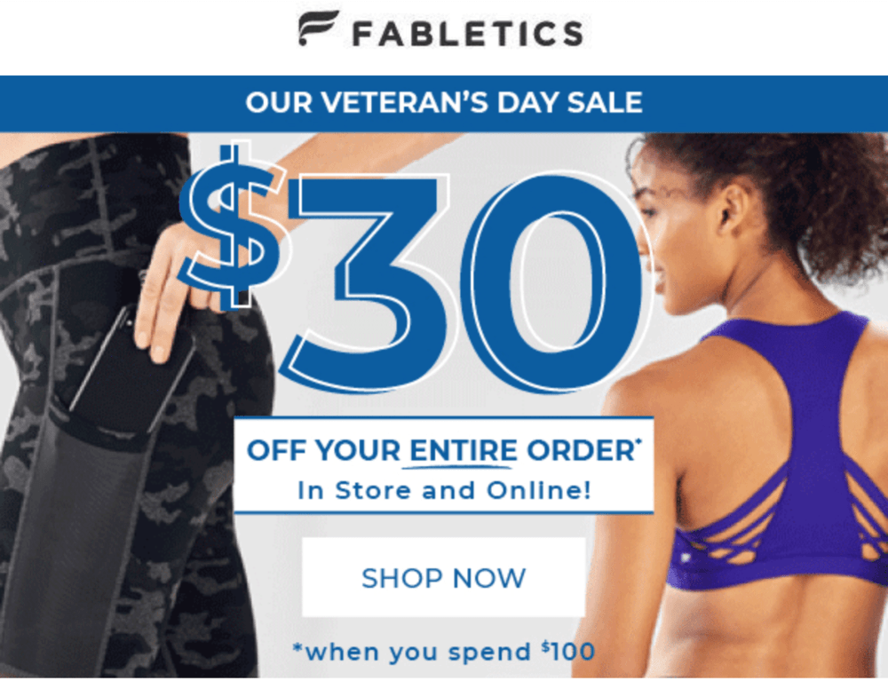 Fabletics Veteran's Day Sale – Save $30 off $100!