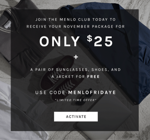 Menlo Club (Five Four Club) Black Friday Sale – First Month for $25 + Free Sunglasses + Jacket & Shoes