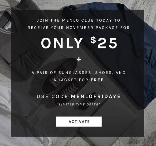 Menlo Club (Five Four Club) Cyber Monday Sale – First Month for $25 + Free Sunglasses + Jacket & Shoes