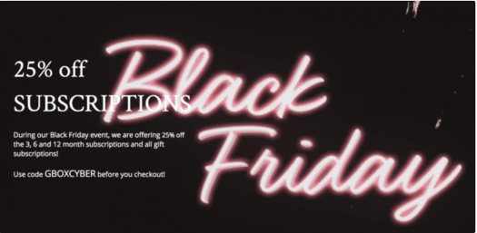 GLOSSYBOX Black Friday Coupon Code – Save 25% off Subscriptions
