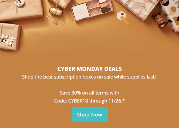 EXTENDED: CrateJoy Cyber Monday Sale – Save 30%!