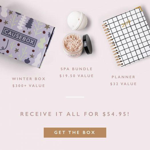 CAUSEBOX Winter 2018 Welcome Box – Free Spa Bundle + Planner with New Subscription!