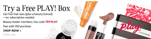 Sephora – Free PLAY! Box with $50 Purchase!