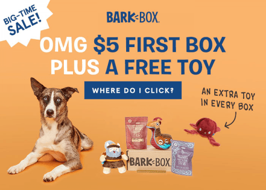 LAST DAY! BarkBox Coupon Code – $5 First Box on 6 or 12-month Plans + Free Extra Toy!!