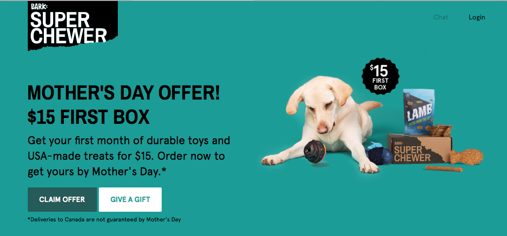 BarkBox Super Chewer Mother's Day Coupon Code – First Box for $15