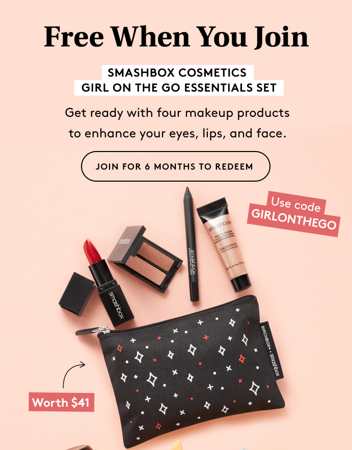Birchbox Coupon – FREE Smashbox Cosmetics Girl On The Go Essentials Set with New Subscriptions
