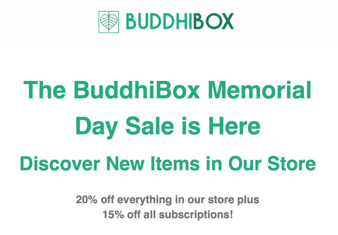 BuddhiBox Memorial Day Sale