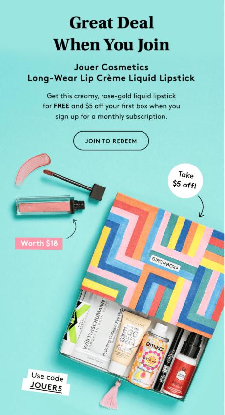 Birchbox Coupon – FREE Jouer Cosmetics Long-Wear Lip Creme Liquid Lipstick + $5 Off New Subscriptions