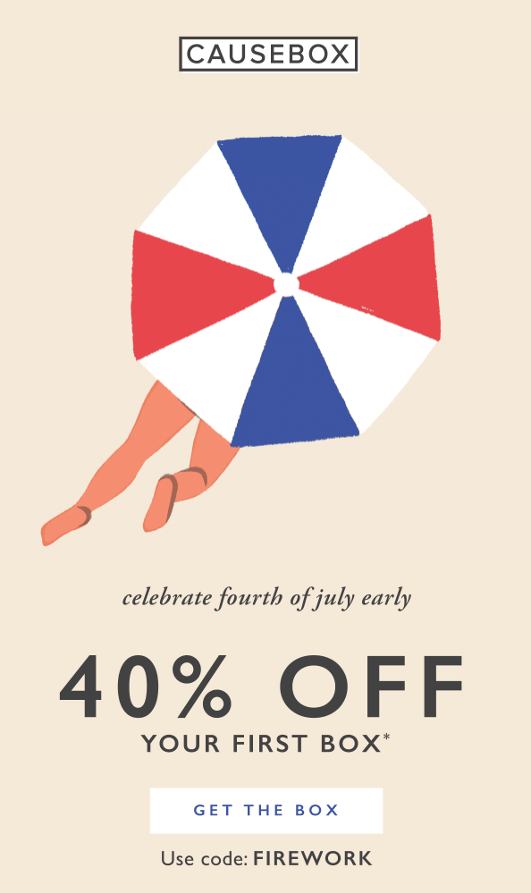 LAST DAY!!  CAUSEBOX 4th of July Sale – Save 40% Off