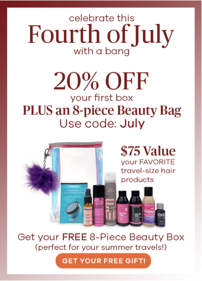 Vine Oh! Box 4th of July Sale – 20% Off + Free 8-Piece Beauty Bag!