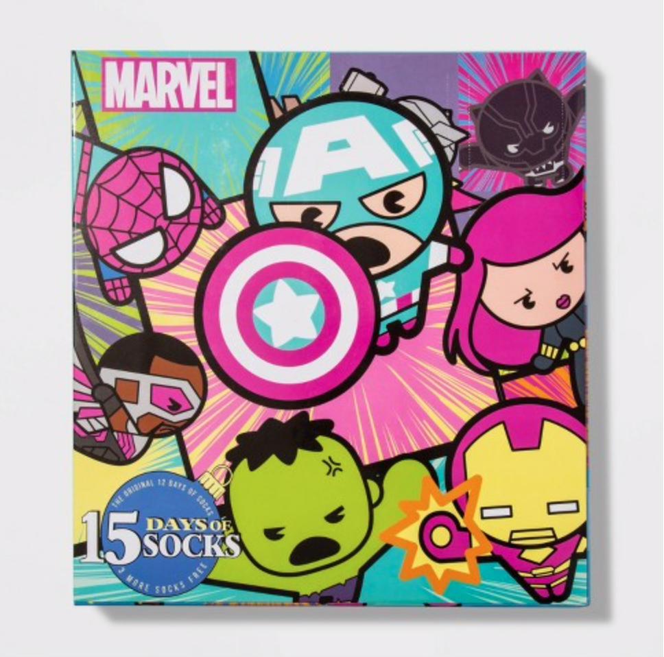 Women's Marvel Avengers 15 Days of Socks Advent Calendar – On Sale Now