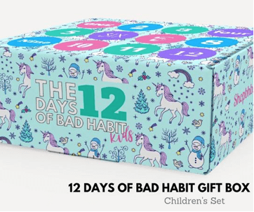 Bad Habit Boutique 12 Days of Christmas Advent Gift Box for Kids