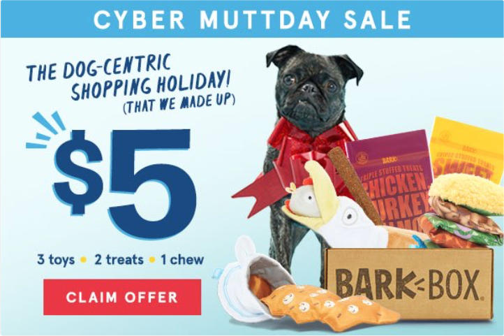BarkBox Coupon Code – $5 First Box + Free Extra Toys!