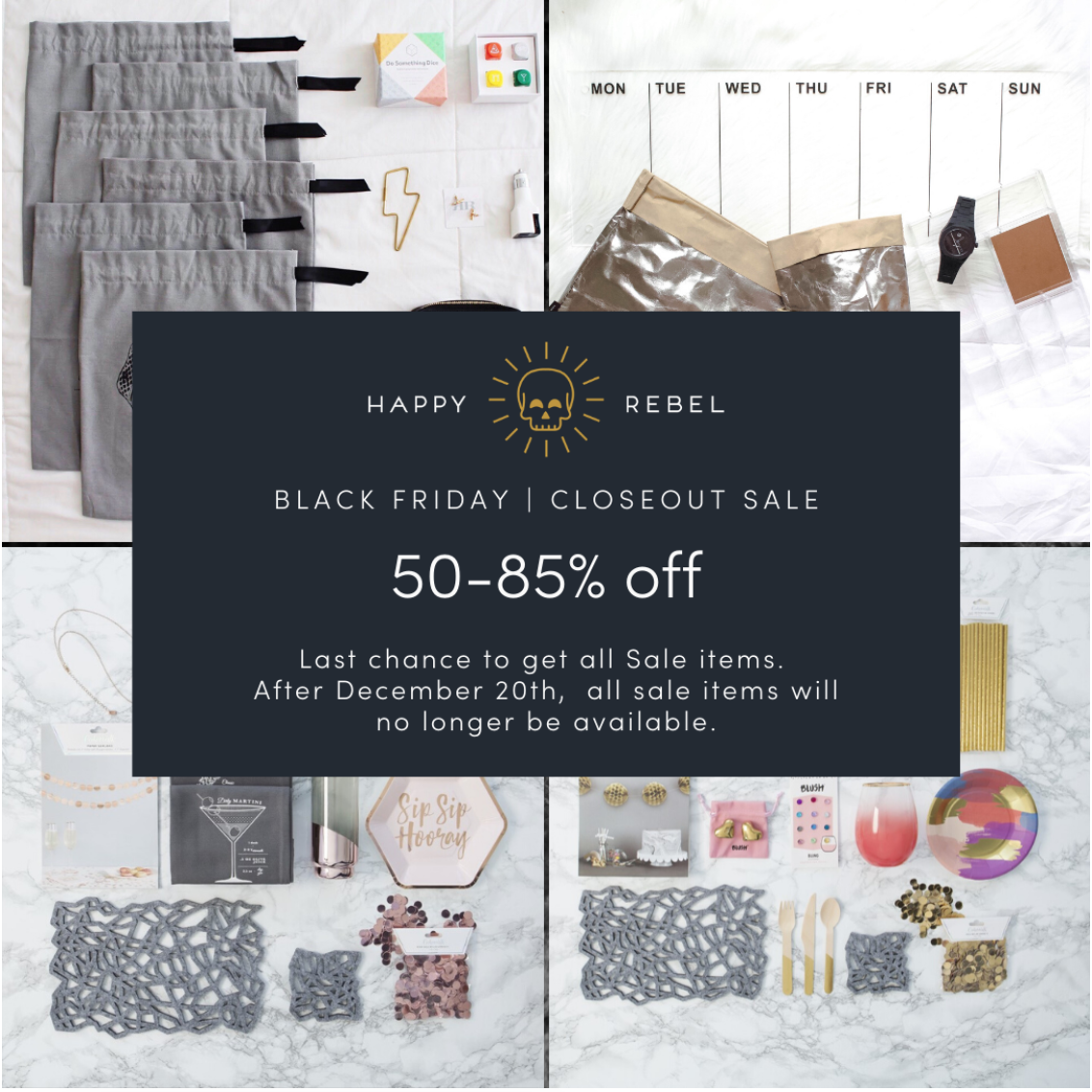 Happy Rebel Box Black Friday Shop Closeout Sale – Save 50-85% Off!