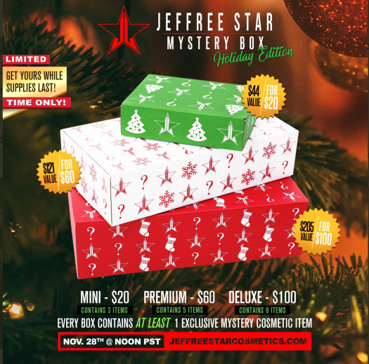 Jeffree Star Holiday Mystery Boxes – On Sale Now