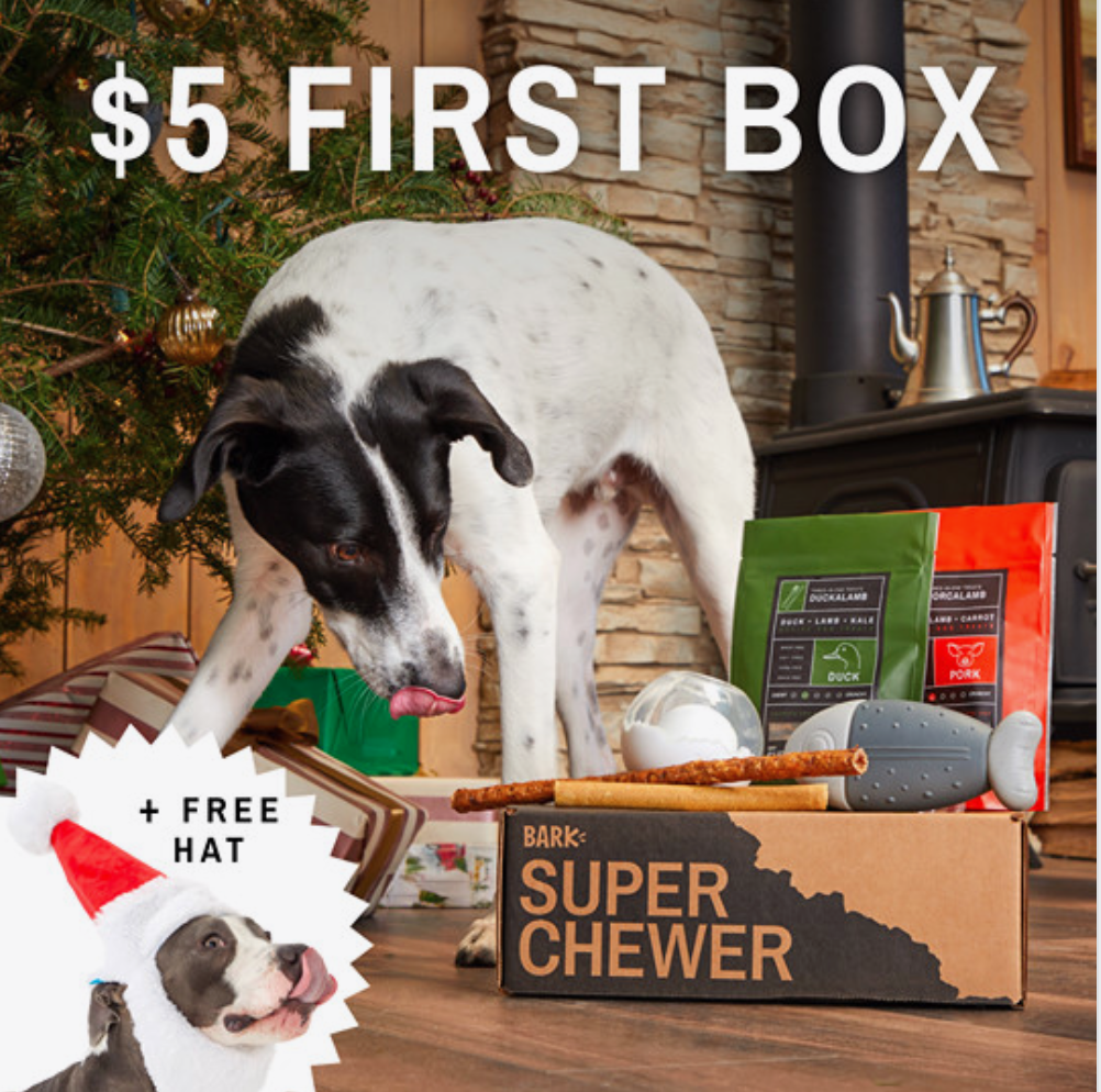 LAST DAY! BarkBox Super Chewer Cyber Monday Coupon Code – First Box for $5 + Free Santa Hat!