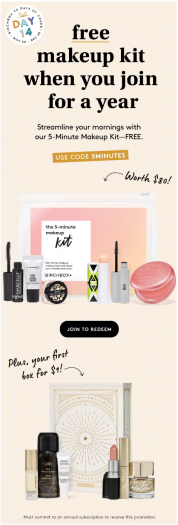 Birchbox Coupon – First Box for $1 + Free 5-Minute Makeup Kit