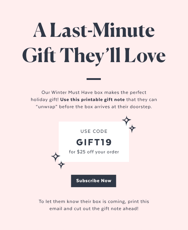 POPSUGAR Must Have Box – $25 off the Winter Box + Printable Gift Note!
