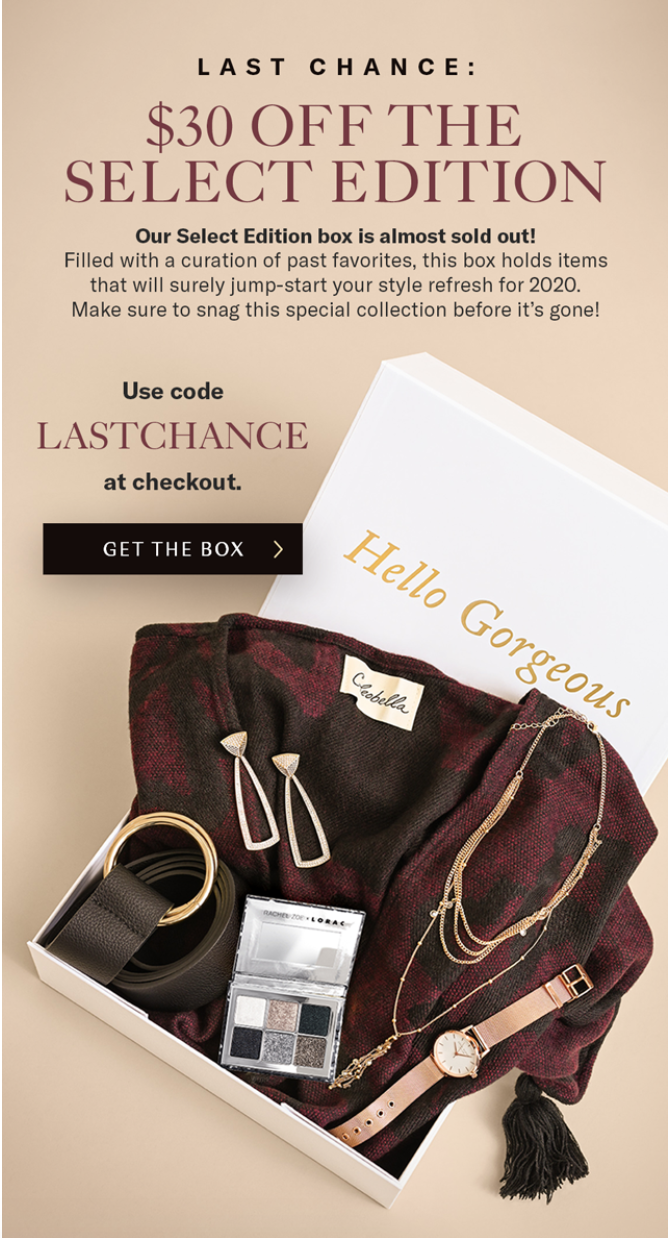 Box of Style by Rachel Zoe Winter Select Box Coupon Code – Save $30!
