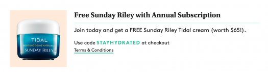 Birchbox Coupon Code - Free Sunday Riley Tidal cream with Annual Subscription