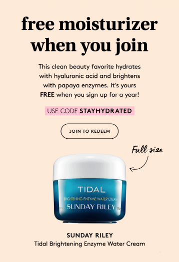 Birchbox Coupon Code – Free Sunday Riley Tidal cream with Annual Subscription