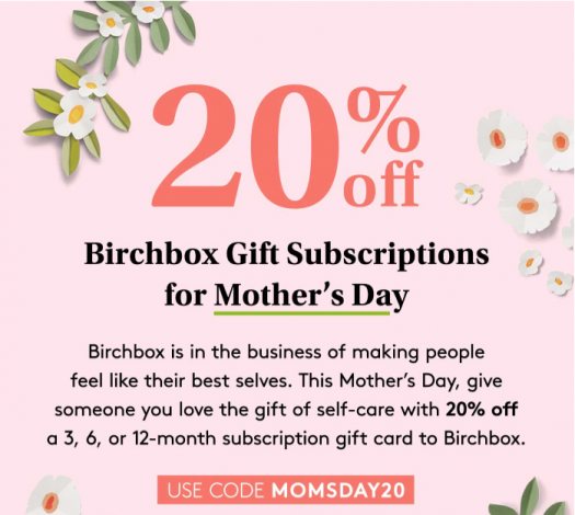 Birchbox 20% off Gift Subscriptions!!