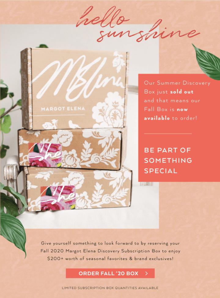 Margot Elena Seasonal Discovery Box Fall 2020 Box – On Sale Now