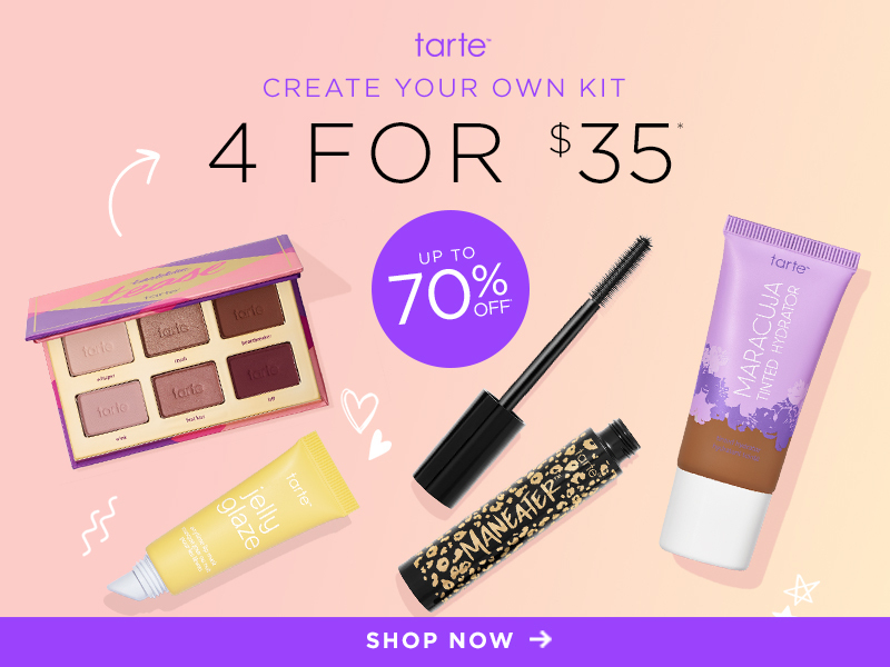 tarte Create Your Own 4-Item Custom Kit for $35 – On Sale Now!