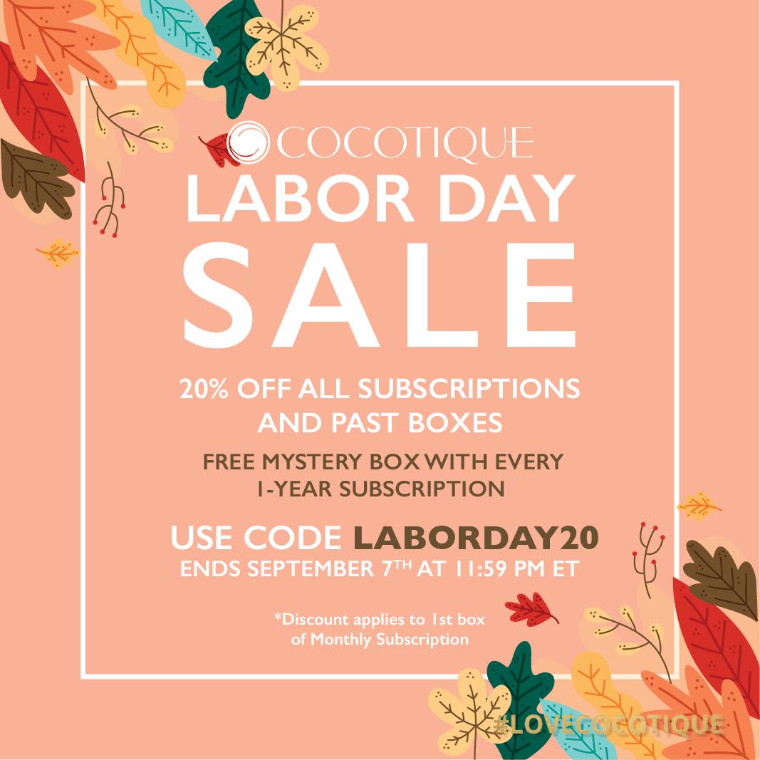 COCOTIQUE Labor Day Sale – Save 20% Off Subscriptions & Past Boxes
