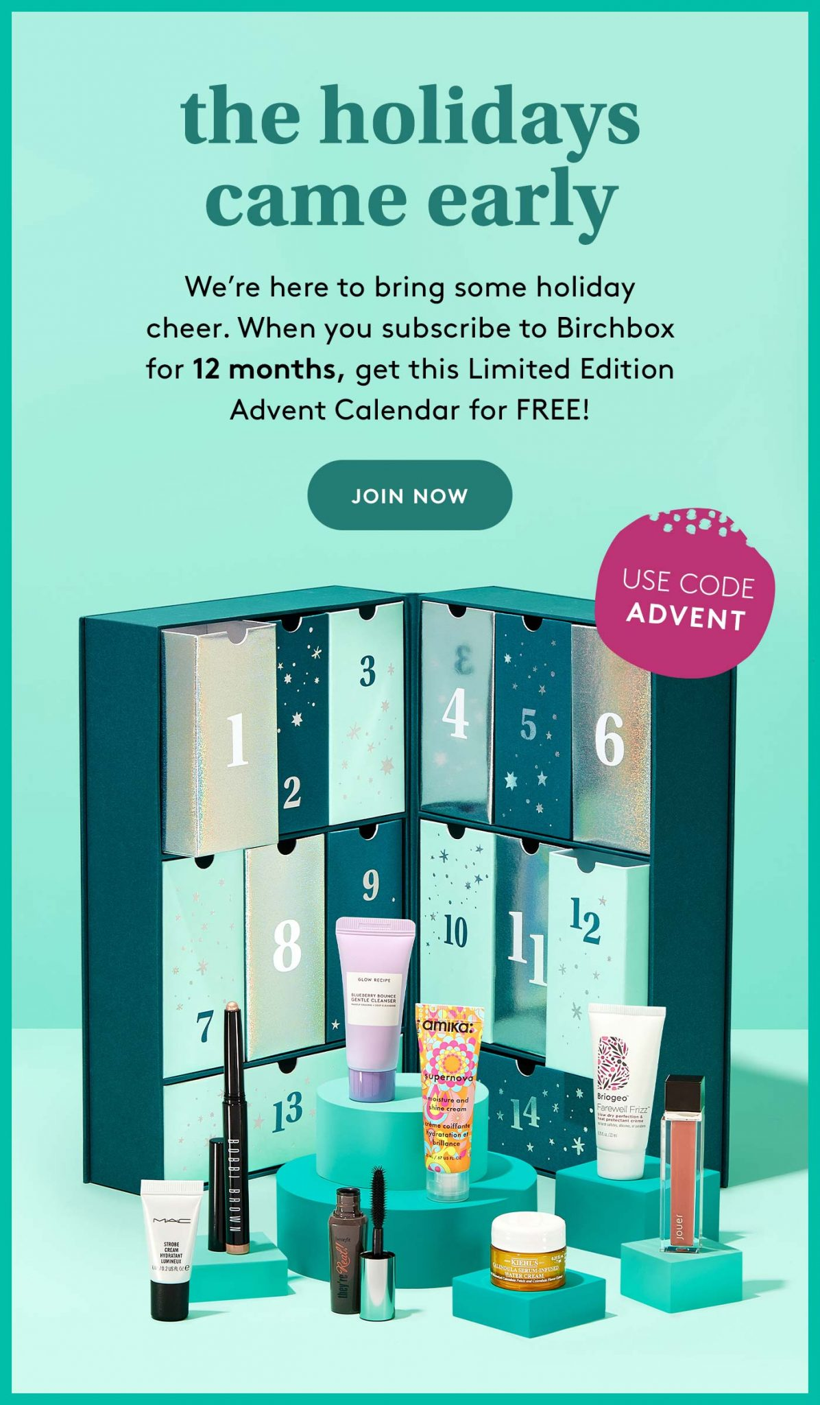 Birchbox Annual Subscription Coupon Code – Free Advent Calendar with Purchase