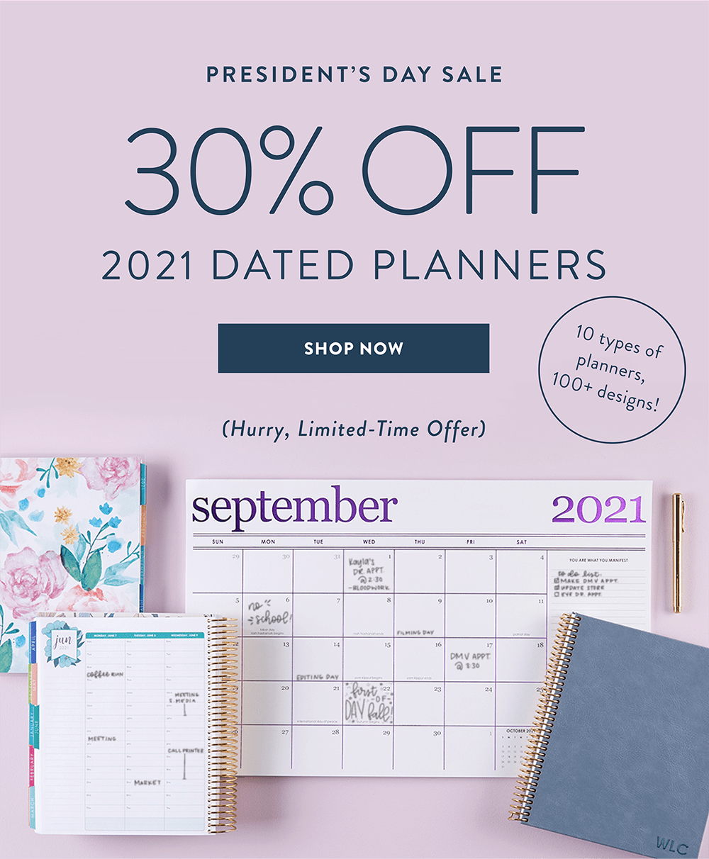 Erin Condren President's Day Sale – Save 30% Dated Planners!