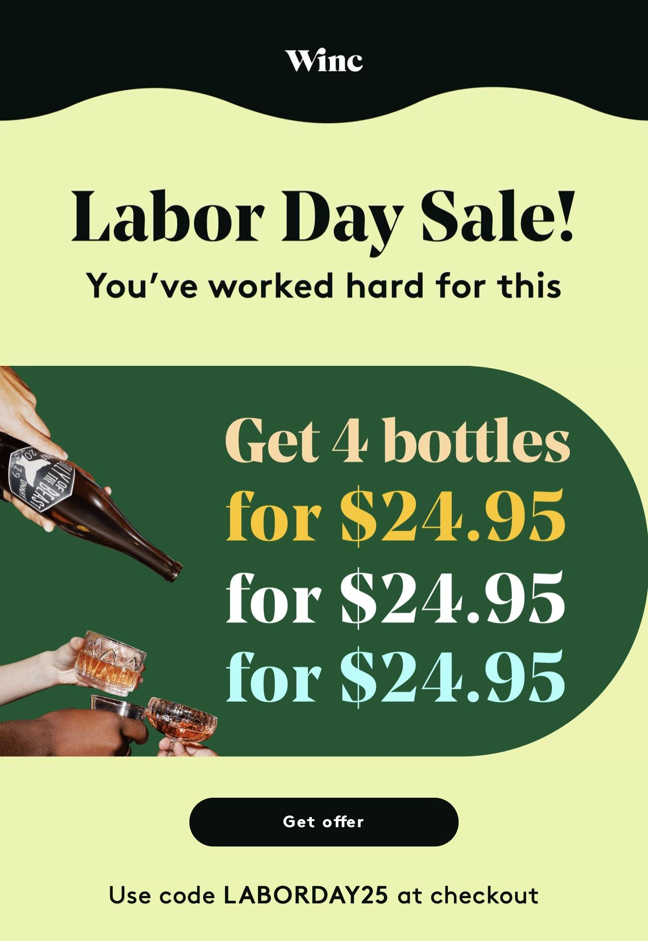 Winc Labor Day Sale – 4 Bottles for $25!